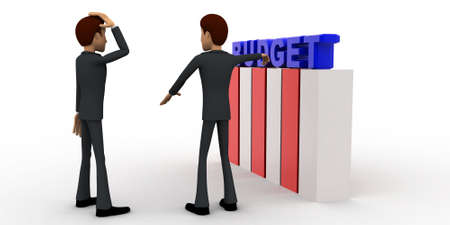 to discuss: 3d man discuss budget plan concept on white background,  side angle view Stock Photo