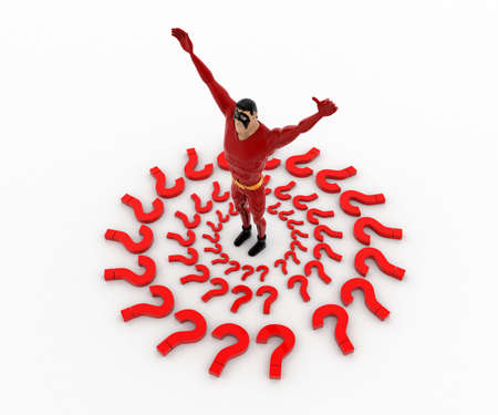 top angle view: 3d superhero in center of question mark around him concept on white background, top angle view