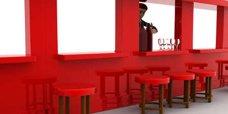 side bar: 3d man in bar with alchohol bottels and glasses concept on white background, side angle view