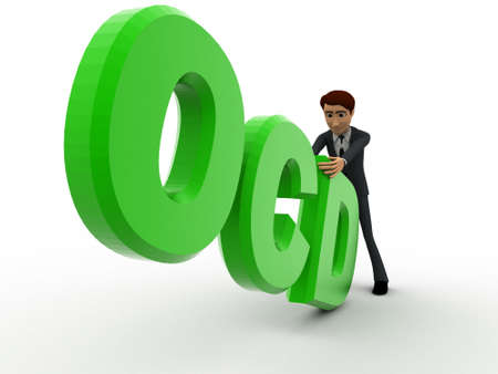 ocd: 3d man with green OCD text concept on white background,  side angle view