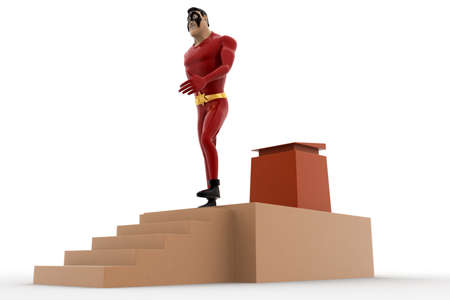3 dimensions: 3d superhero going down from speech stage concept on white background, side angle view