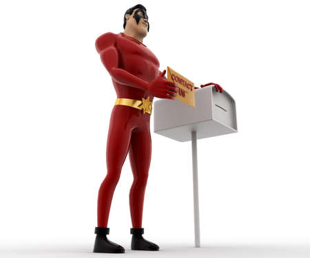 postbox: 3d superhero with postbox and mail in hand concept on white background, low angle view Stock Photo