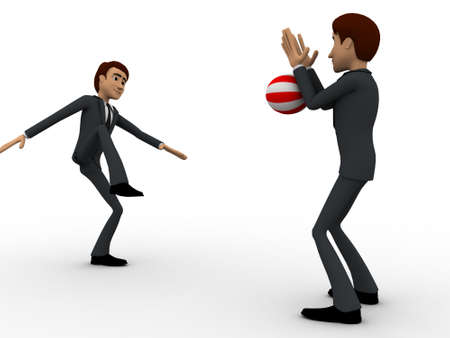 blocking: 3d one man kick ball and another man blocking it with hands concept on white background, side angle view