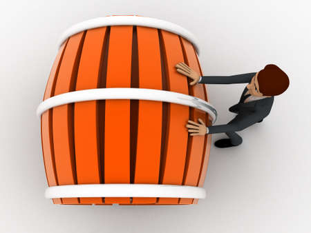 man pushing: 3d man pushing and rolling big barrel concept on white background, top angle view