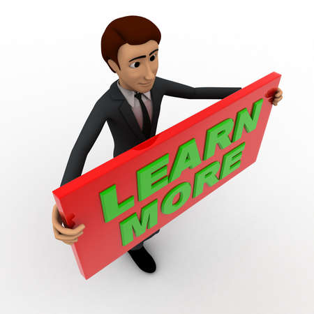 top angle view: 3d man with learn more sign board concept on white background, top angle view Stock Photo