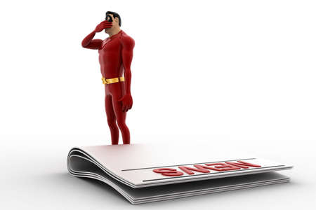 news paper: 3d superhero thinking and with news paper concept on white background, side angle view