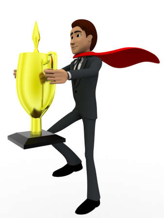 super man: 3d man super hero holding cup in hand concept on white background, side angle view Stock Photo