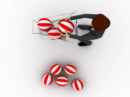 put: 3d man put balls into the shopping cart concept on white background, top angle view Stock Photo