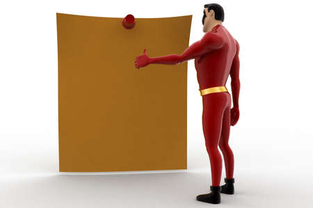 viewing angle: 3d superhero watching at notice on wall concept on white background, front angle view