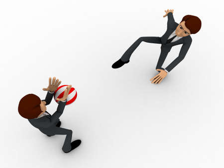 blocking: 3d one man kick ball and another man blocking it with hands concept on white background, top angle view