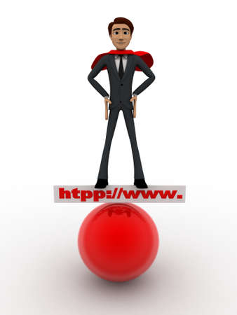 red sphere: 3d man super hero stand on http www board and red sphere concept on white background, front angle view