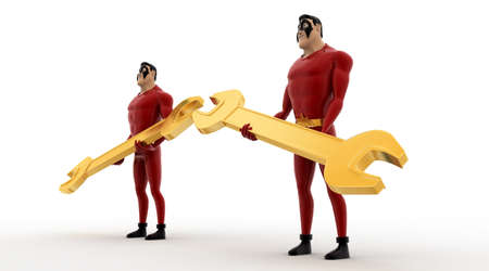 angle: 3d superhero holding golden wrench in hand concept on white background, side angle view Stock Photo