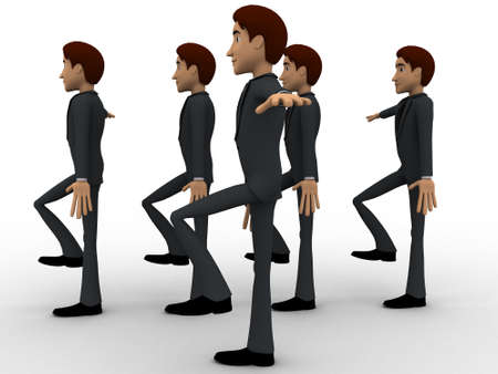 rythm: 3d man doing march in full rythm concept on white background,  side angle view