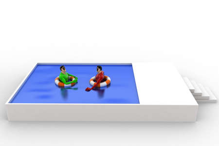 swimming to float: 3d superhero swimming in pool with float and another superhero concept on white background, front angle view Stock Photo