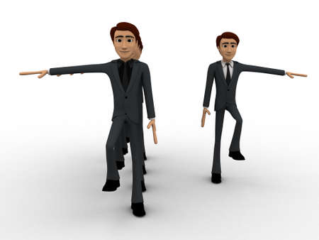 rythm: 3d man doing march in full rythm concept on white background, front angle view
