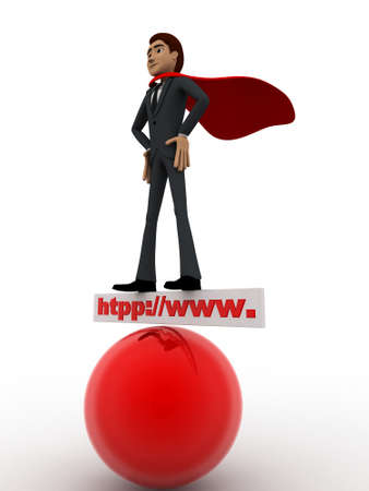 red sphere: 3d man super hero stand on http www board and red sphere concept on white background, side angle view
