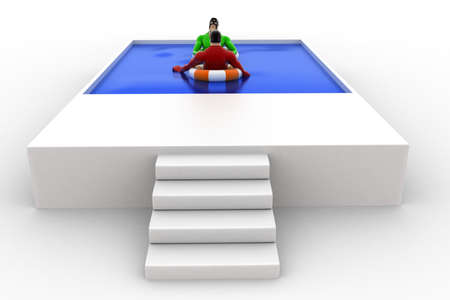 swimming to float: 3d superhero swimming in pool with float and another superhero concept on white background, side angle view