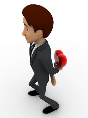 someone: 3d man hiding heart to give someone concept on white background, top angle view