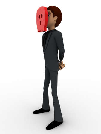 looking through an object: 3d man looking through hole in object concept on white background, side angle view