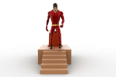 going down: 3d superhero going down from speech stage concept on white background, front angle view