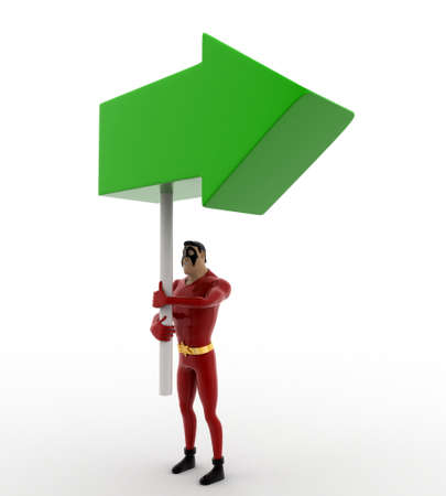 3 dimensions: 3d superhero holding green direction arrow in hand concept on white background, side angle view Stock Photo