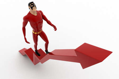 3 dimensions: 3d superhero walking on red arrow concept on white background, top angle view Stock Photo