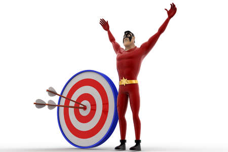 perfectly: 3d superhero with with perfectly aimed arrows on target board concept on white background, side angle view