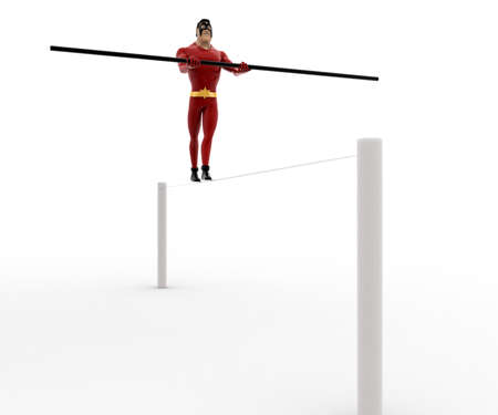 balancing: 3d superhero balancing on rope with long stick concept on white background, front angle view