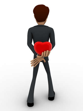 hiding: 3d man hiding heart to give someone concept on white background, front angle view Stock Photo