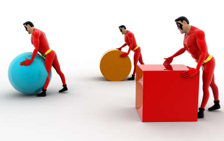 superheros: 3d three superheros pushing and rolling cube, sphere and cylinder concept on white background, side angle view