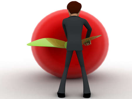 to try: 3d man try to draw big red apple and pulling leaf concept on white background, back angle view