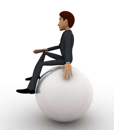 3 dimensions: 3d man sitting on sphere and thinking concept on white background,  side angle view
