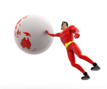 three dimensions: 3d superhero trying to catch earth concept on white background, side angle view Stock Photo