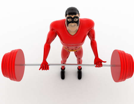 heavy weight: 3d superhero lifting red heavy weight concept on white background, top angle view Stock Photo