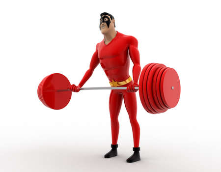 heavy weight: 3d superhero lifting red heavy weight concept on white background, side angle view