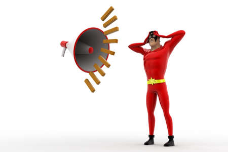 loud noise: 3d superhero feel headche can not hear loud noise from speaker concept on white background, side angle view Stock Photo