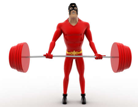 3 dimensions: 3d superhero lifting red heavy weight concept on white background, front angle view