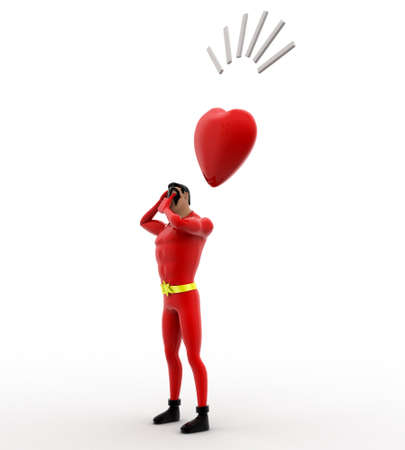 3 dimensions: 3d superhero thinking and with heart concept on white background, side angle view