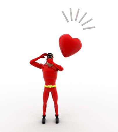 contemplate: 3d superhero thinking and with heart concept on white background, front angle view