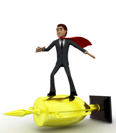 3 dimensions: 3d man super hero riding on golden cup of winner concept on white background, side angle view