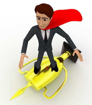 super man: 3d man super hero riding on golden cup of winner concept on white background, top angle view