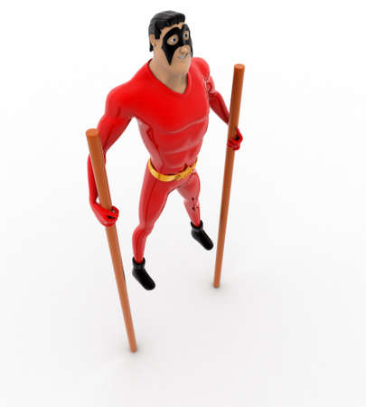 3 dimensions: 3d superhero walking on long stick concept on white background, top angle view