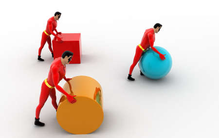 superheros: 3d three superheros pushing and rolling cube, sphere and cylinder concept on white background, top angle view