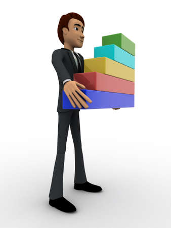 3 dimensions: 3d man holding bar graph in hand concept on white background, side angle view