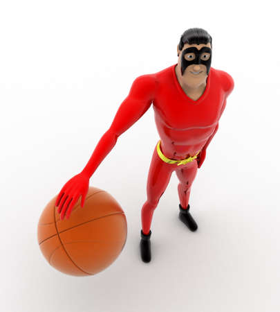 three dimensions: 3d superhero playing with basket ball concept on white background, top angle view Stock Photo