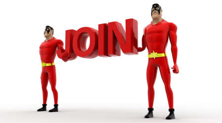 superheros: 3d two superheros holding red join text in hand concept on white background, side angle view