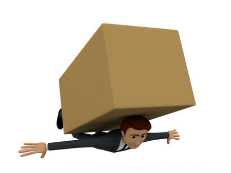 under view: 3d man stuck under big brown box concept on white background, front angle view