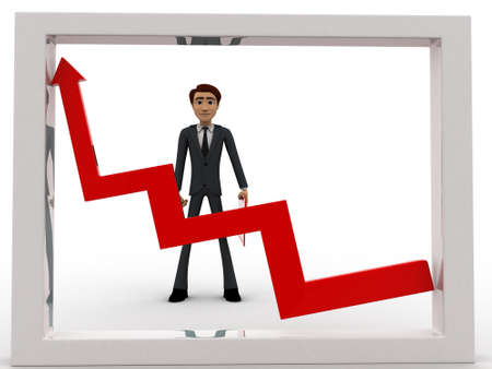 looking at view: 3d man looking at growth graph and with tools concept on white background, front angle view Stock Photo