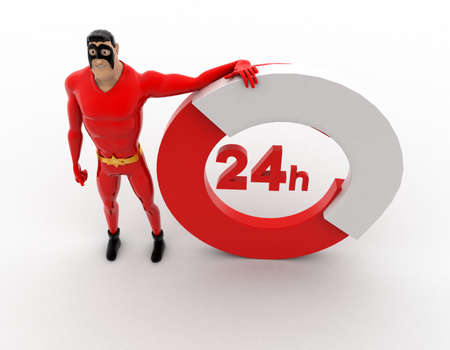 three dimensions: 3d superhero 24 hours concept on white background, top angle view