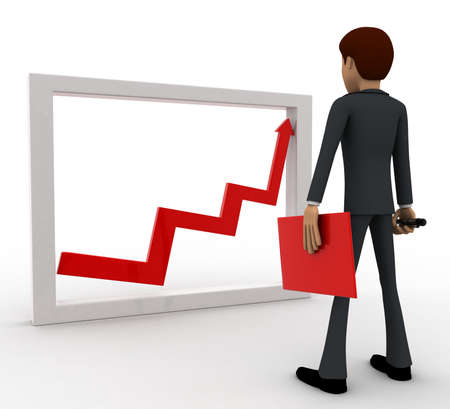 looking at view: 3d man looking at growth graph and with tools concept on white background, back angle view